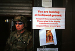 Lower Broadway. National Guardsman. Street Scenes in Manhattan in the aftermath of the 9.11.01 terrorist attacks in NYC, DC, and PA.