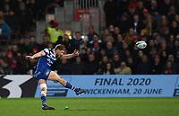 4th January 2020; Kingsholm Stadium, Gloucester, Gloucestershire, England; English Premiership Rugby, Gloucester versus Bath; Rhys Priestland of Bath kicks a penalty - Editorial Use