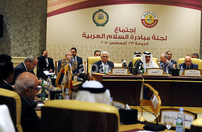 Palestinian President Mahmoud Abbas (Abu Mazen) attends the meeting of the Arab Monitoring Committee in Doha on Aug. 23, 2011. Photo by Thaer Ganaim