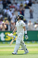 27th December 2019; Melbourne Cricket Ground, Melbourne, Victoria, Australia; International Test Cricket, Australia versus New Zealand, Test 2, Day 2; Steve Smith of Australia reacts after losing his wicket - Editorial Use