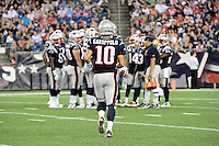 Thursday August 11, 2016: New England Patriots quarterback Jimmy Garoppolo (10) heads out to huddle during an NFL pre-season game between the New Orleans Saints and the New England Patriots held at Gillette Stadium in Foxborough Massachusetts. The Patriots defeat the Saints 34-22 in regulation time. Eric Canha/CSM