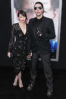 "WESTWOOD, LOS ANGELES, CA, USA - APRIL 10: Lindsay Usich, Marilyn Manson at the Los Angeles Premiere Of Warner Bros. Pictures And Alcon Entertainment's ""Transcendence"" held at Regency Village Theatre on April 10, 2014 in Westwood, Los Angeles, California, United States. (Photo by Xavier Collin/Celebrity Monitor)"