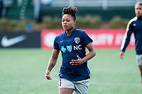Boston, MA - Sunday May 07, 2017: Taylor Smith prior to warmups before a regular season National Women's Soccer League (NWSL) match between the Boston Breakers and the North Carolina Courage at Jordan Field.