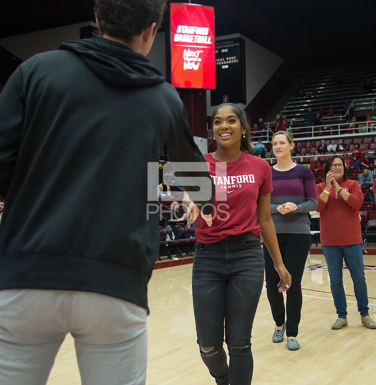 Stanford, CA - January 24, 2020: Niluka Madurawe at Maples Pavilion. The Stanford Cardinal defeated the Colorado Buffaloes in overtime, 76-68.