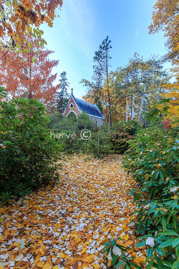 France, Allier (03), Villeneuve-sur-Allier, Arboretum de Balaine en automne, allée vers la chapelle