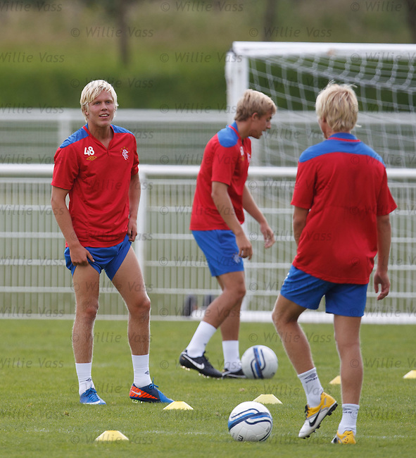 The Skogsrund twins Kim and Tom training with the Rangers u19s