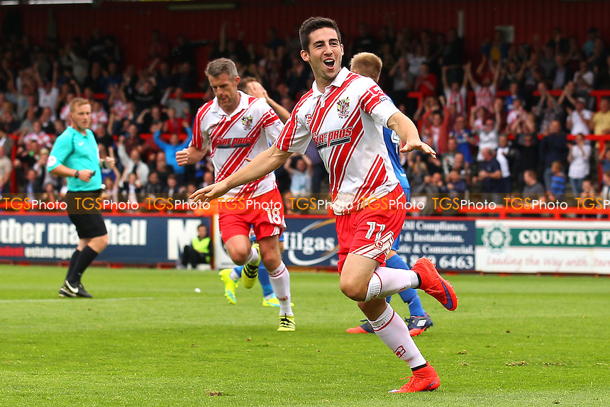 Tom Pett of Stevenage scores the first goal for his team and celebrates during Stevenage vs Hartlepool United, Sky Bet EFL League 2 Football at the Lamex Stadium on 3rd September 2016