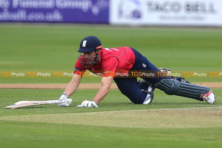 Alastair Cook of Essex dives to make his ground during Essex Eagles vs Gloucestershire, Royal London One-Day Cup Cricket at The Cloudfm County Ground on 4th May 2017