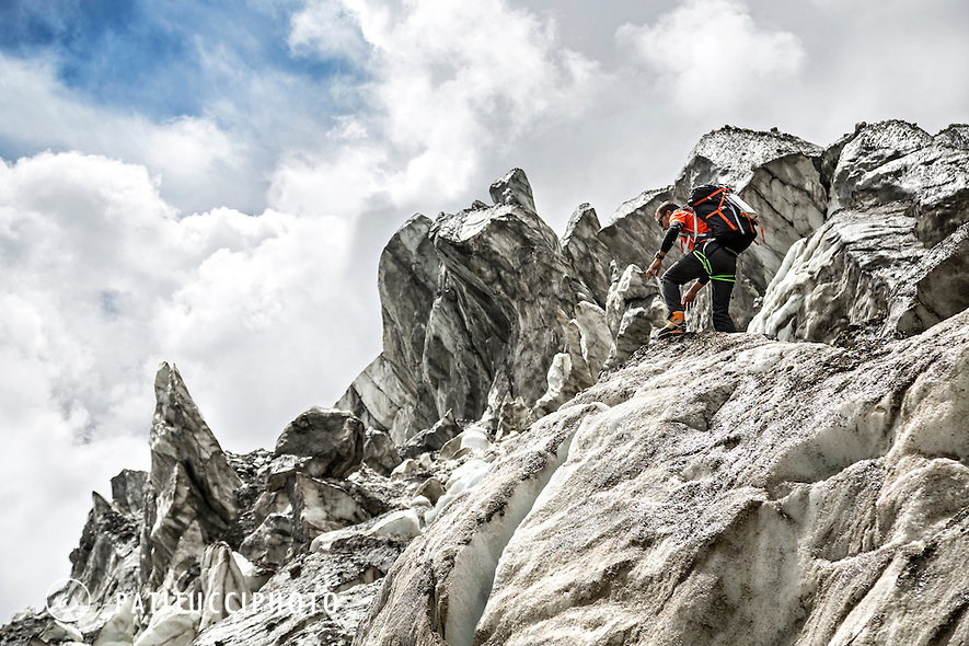 Ueli Steck returned to Nepal and the Annapurna south face in 2013 which he climbed solo, without oxygen, in one 28 hour alpine push, via a new route. The trip was his third attempt to climb the 8000 meter peak. Ueli making his way through the very dirty icefall on the way to advance basecamp.