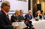 Palestinian Prime Minister Mohammad Ishtayeh attends the launching ceremony of the International Socialist Conference, in the West Bank city of Ramallah, July 30, 2019. Photo by Prime Minister Office