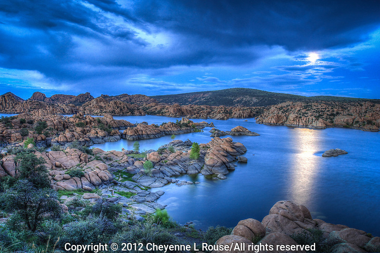 "Blue Moon Rising - Arizona - Watson Lake - Granite Dells - Prescott. Special Full ""blue"" Moon - August 2012"