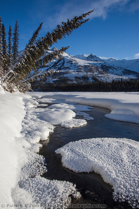 Open water during winter, Brooks Range, Alaska.