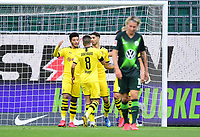 23rd May 2020, Volkswagen Arena, Wolfsburg, Lower Saxony, Germany; Bundesliga football,VfL Wolfsburg versus Borussia Dortmund; Jadon Sancho and Mahmoud Dahoud, celebrate the goal from a penalty kick by Achraf Hakimi (Dortmund)