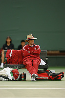26 January 2006: Stanford assistant coach David Hodge during the Cardinal's 6-1 win over Hawaii at the Taube Family Tennis Stadium in Stanford, CA.