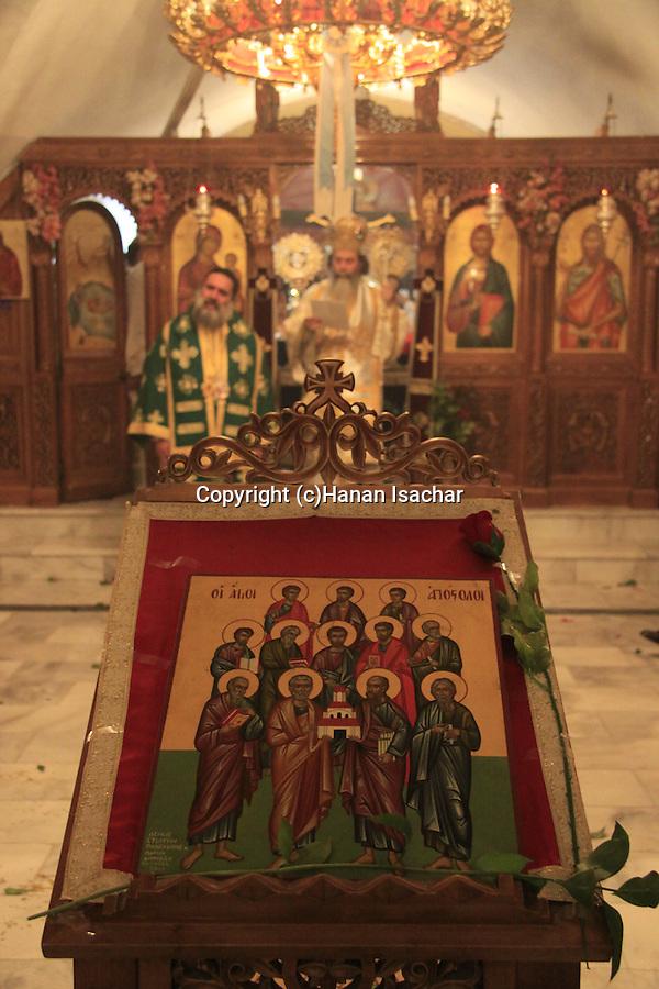 Israel, Tiberias, Greek Orthodox Patriarch Theophilus III at the Church of the Twelve Apostles on the day of the Twelve Apostles.