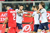 Italy's Nicolo' Barella celebrates with teammates after scoring the 3-0 goal <br /> Palermo 18-11-2019 Stadio Renzo Barbera <br /> UEFA European Championship 2020 qualifier group J <br /> Italy - Armenia <br /> Photo Carmelo Imbesi / Insidefoto