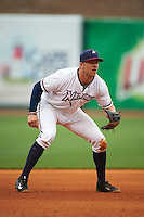 NW Arkansas third baseman Hunter Dozier (9) during a game against the San Antonio Missions on May 30, 2015 at Arvest Ballpark in Springdale, Arkansas.  San Antonio defeated NW Arkansas 5-1.  (Mike Janes/Four Seam Images)