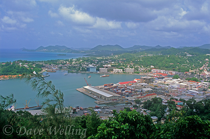 731400017 a view of the harbor distant peaks and the island town of castries on the caribbean island of saint lucia