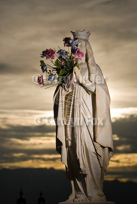 Angel headstone at sundown in the Tonopah Cemetery, Nev.