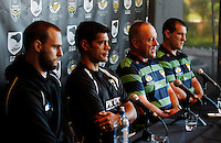 PICTURE BY SIMON WATTS/photosport.co.nz - Rugby League - Anzac Test - New Zealand and Australia Press Conference - Eden Park, Auckland, New Zealand - 19/04/12 - L-R: Simon Mannering, Stephen Kearney, Tim Sheens and Paul Gallen - Copyright - Photosport NZ/SWpix.com...