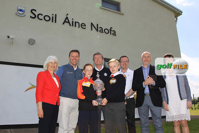James Finnegan (European Tour), Barry Funston (CEO Rory Foundation), Des Smyth (Pro-Golfer) and Brian McIlroy (Rory Foundation) pictured during a visit with the Dubai Duty Free Irish Open Trophy to St. Anne's National School in Straffan, Ardclough, Co. Kildare<br /> Picture: Golffile | Thos Caffrey<br /> <br /> All photo usage must carry mandatory copyright credit <br /> (&copy; Golffile | Thos Caffrey)