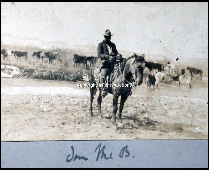 BNPS.co.uk (01202 558833)<br /> Pic: FlintsAuctions/BNPS<br /> <br /> Cowboy 'Jon the B'<br /> <br /> Unseen album reveals the life of a cowboy in the real wild west...<br /> <br /> Fascinating previously unseen early photos of cowboys in the Wild West have come to light 130 years later.<br /> <br /> They show life on the ranches of Colorado and New Mexico in the vast expanses of the south west US in the 1880s.<br /> <br /> One dramatic image captures the thrilling moment a group of cowboys ride towards the camera with hats held aloft.<br /> <br /> The photos are thought to have been taken by a British farmhand who travelled Stateside in the late 19th century to earn a living.