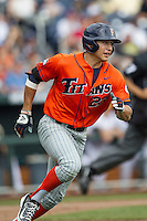 Cal State Fullerton designated hitter Davi Olmedo-Barrera (23) runs to first base during the NCAA College baseball World Series against the Vanderbilt Commodores Titans on June 15, 2015 at TD Ameritrade Park in Omaha, Nebraska. Vanderbilt beat Cal State Fullerton 4-3. (Andrew Woolley/Four Seam Images)