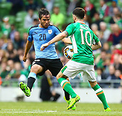 June 4th 2017, Aviva Stadium, Dublin, Ireland; International Friendly, Ireland versus Uruguay;  Álvaro Gonzalez of Uruguay in action against Robbie Brady of Ireland