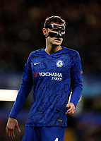 25th February 2020; Stamford Bridge, London, England; UEFA Champions League Football, Chelsea versus Bayern Munich; Andreas Christensen of Chelsea wearing a carbon fibre protective face mask