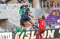 Orlando, FL - Saturday October 14, 2017: Adrianna Franch, Jessica McDonald, Katherine Reynolds during the NWSL Championship match between the North Carolina Courage and the Portland Thorns FC at Orlando City Stadium.