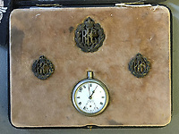 BNPS.co.uk (01202 558833)<br /> Pic: Rowley's/BNPS<br /> <br /> PICTURED: A pocket watch found on the body of a tragic World War One pilot who has shot and killed has emerged for sale.<br /> <br /> Lieutenant Eric Waters, of 6 Squadron, had been flying over Belgium in 1917 when he perished in a dogfight aged 30.<br /> <br /> The doomed mission has become famous because of the subsequent derring-do of his gunner-observer, Sergeant Fred Slingby.<br /> <br /> Sgt Slingby has been sitting in front of him with no parachute, heading for the ground.
