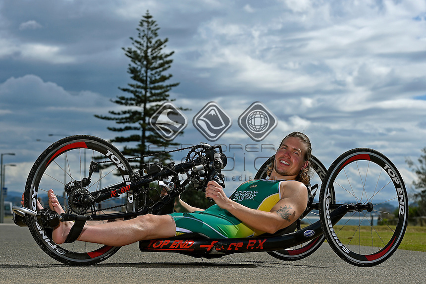 RIO 2016 APC Para-Triathlon Team Announcement at the Coolangatta SLSC with athlete Nic Beveridge<br /> Australian Paralympic Committee<br /> Coolangatta SLSC Qld<br /> QLD Wednesday 3rd August 2016<br /> &copy; Sport the library / Jeff Crow