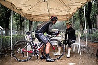 Esteban Chavez (COL/Mitchelton-Scott) & Jhonatan Narváez (ECU/INEOS) catching up while covering from heavy rainfall at the start of stage 5<br /> <br /> Stage 5: Frascati to Terracina (140km)<br /> 102nd Giro d'Italia 2019<br /> <br /> ©kramon