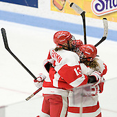 Kaleigh Fratkin (BU - 13), Marie-Philip Poulin (BU - 29), Jenelle Kohanchuk (BU - 19) - The Boston University Terriers defeated the visiting Harvard University Crimson 2-1 on Sunday, November 18, 2012, at Walter Brown Arena in Boston, Massachusetts.