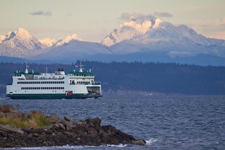 Puget Sound, Washington State Ferry, MV Salish, Cascade Mountains, Three Fingers (peak), winter snowfall, Port Townsend, Admiralty Inlet, Washington State, Pacific Northwest, USA,