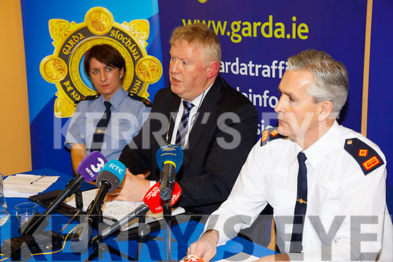 Detective Chief Walter O'Sullivan(Serious Crime Review Team-Dublin) speaking at the GARDA Press conference in Cahersiveen Garda Station on Tuesday with left Garda Breda O'Donoghue(Cahersiveen) and right Superintendent Flor Murphy(Killarney).