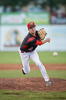 Batavia Muckdogs relief pitcher Travis Neubeck (22) delivers a warmup pitch during a game against the West Virginia Black Bears on June 26, 2017 at Dwyer Stadium in Batavia, New York.  Batavia defeated West Virginia 1-0 in ten innings.  (Mike Janes/Four Seam Images)