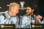 05 December 2013: Jimmy Nielsen (DEN) (left) and Graham Zusi (right) share a joke. Sporting Kansas City held a press conference at the Three Points Club in Kansas City, Missouri two days before playing Real Salt Lake in MLS Cup 2013.