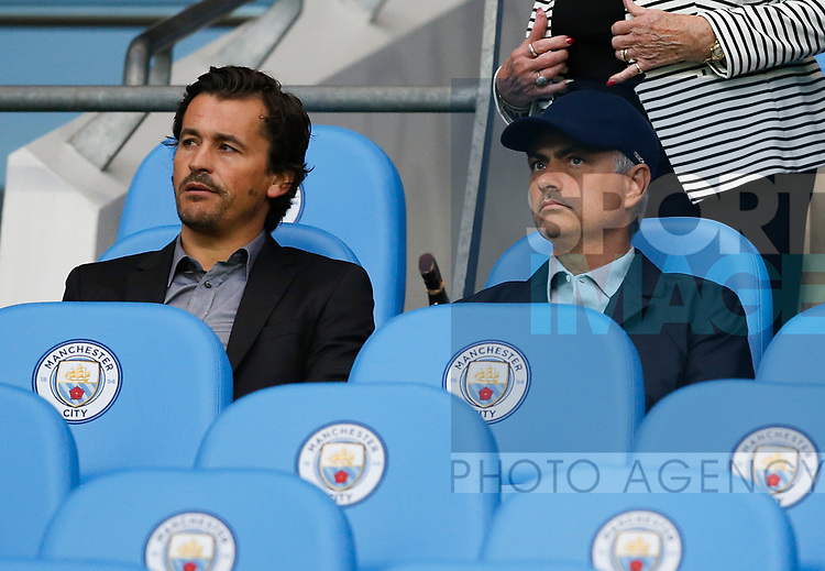 Jose Mourinho takes a seat to watch the game during the Premier League match at the Eithad Stadium, Manchester. Picture date 21st August 2017. Picture credit should read: Simon Bellis/Sportimage