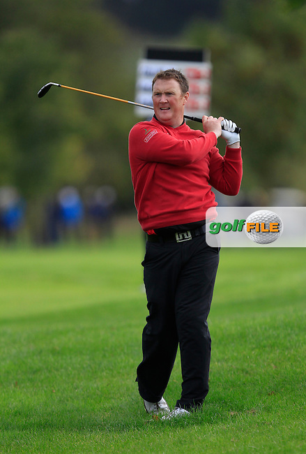 Michael McGeady (Derry) on the 18th during Round 4 of The Cassidy Golf 103rd Irish PGA Championship in Roganstown Golf Club on Sunday 13th October 2013.<br /> Picture:  Thos Caffrey / www.golffile.ie