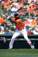 Baltimore Orioles center fielder Adam Jones (10) at bat during a Spring Training game against the Minnesota Twins on March 7, 2016 at Ed Smith Stadium in Sarasota, Florida.  Minnesota defeated Baltimore 3-0.  (Mike Janes/Four Seam Images)