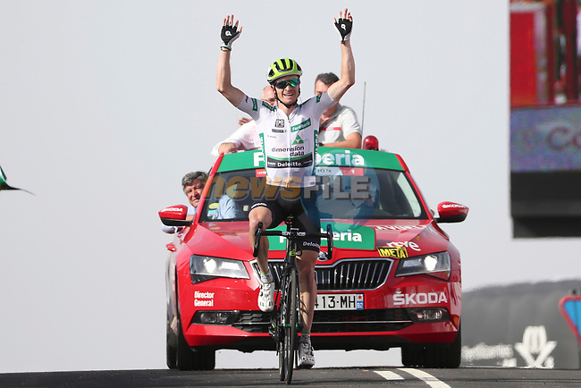 Benjamin King (USA) Team Dimension Data wins Stage 9, his 2nd stage win, of the La Vuelta 2018, running 200.8km from Talavera de la Reina to La Covatilla, Spain. 2nd September 2018.<br /> Picture: Unipublic/Photogomezsport | Cyclefile<br /> <br /> <br /> All photos usage must carry mandatory copyright credit (© Cyclefile | Unipublic/Photogomezsport)
