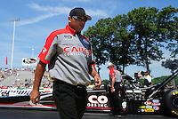 Jun. 3, 2012; Englishtown, NJ, USA: Crew member for NHRA top fuel dragster driver Steve Torrence during the Supernationals at Raceway Park. Mandatory Credit: Mark J. Rebilas-