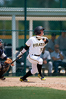 GCL Pirates pinch hitter Matt Morrow (55) follows through on a swing during a game against the GCL Tigers West on August 13, 2018 at Pirate City Complex in Bradenton, Florida.  GCL Tigers West defeated GCL Pirates 5-1.  (Mike Janes/Four Seam Images)