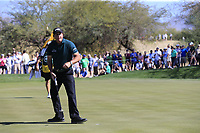 Phil Mickelson (USA) sinks his putt on the 6th green during Saturday's Round 3 of the Waste Management Phoenix Open 2018 held on the TPC Scottsdale Stadium Course, Scottsdale, Arizona, USA. 3rd February 2018.<br /> Picture: Eoin Clarke | Golffile<br /> <br /> <br /> All photos usage must carry mandatory copyright credit (&copy; Golffile | Eoin Clarke)