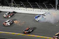 12-13 February, 2016, Daytona Beach, Florida, USA<br /> After hittig Dale Earnhardt Jr. Brian Vickers crashes into the turn 1 wall taking Kevin Harvick along with him.<br /> ©2016, F. Peirce Williams