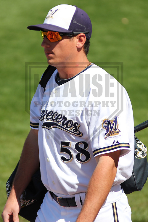 MARYVALE - March 2013:  Josh Prince (58) of the Milwaukee Brewers during a Spring Training game against the Los Angeles Dodgers on March 11, 2013 at Maryvale Baseball Park in Maryvale, Arizona. Milwaukee defeated Los Angeles 3-2. (Photo by Brad Krause). ...