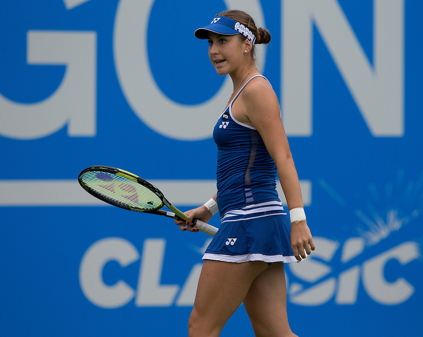 Belinda Bencic (SUI) in action during her Women&rsquo;s Singles Second Round match today against Sabine Lisicki (DEU)<br /> <br /> Photographer Stephen White/CameraSport<br /> <br /> Tennis - WTA International - Aegon  Classic - Day 3 - Wednesday 17th June 2015 - Edgbaston Priory Club - Birmingham<br /> <br /> &copy; CameraSport - 43 Linden Ave. Countesthorpe. Leicester. England. LE8 5PG - Tel: +44 (0) 116 277 4147 - admin@camerasport.com - www.camerasport.com