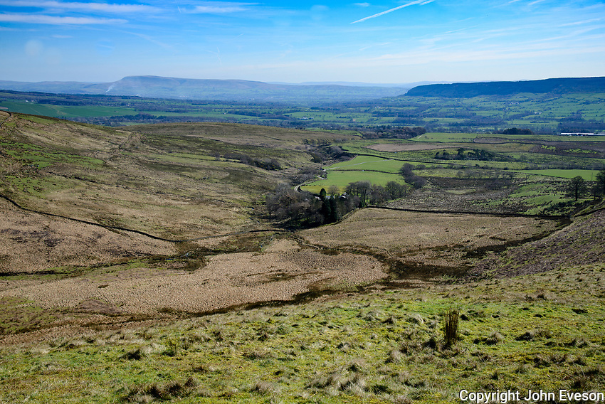 View over Burnslack looking towards Pendle Hill and Longridge Fell from Saddle Fell, Chipping, Lancashire.