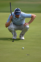 Jim Knous (USA) lines up his eagle putt on 18 during day 3 of the Valero Texas Open, at the TPC San Antonio Oaks Course, San Antonio, Texas, USA. 4/6/2019.<br /> Picture: Golffile | Ken Murray<br /> <br /> <br /> All photo usage must carry mandatory copyright credit (&copy; Golffile | Ken Murray)